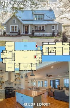 Architectural Designs Exclusive Farmhouse Plan 130005LLS. 4BR | 3.5BA |  2,800+SQ.FT. Ready When You Are. Where Do YOU Want To Build?