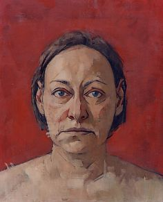 Self-Portrait (red background) Mary Beth McKenzie Oil on Canvas 17 x 14 in