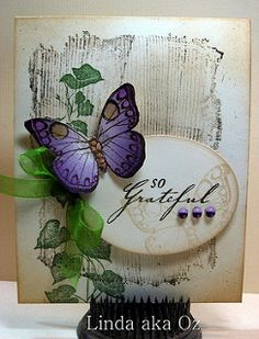 Butterfly, leaves distressed background with oval sentiment area popped up Butterfly Cards, Flower Cards, Purple Butterfly, Handmade Greetings, Greeting Cards Handmade, Card Making Inspiration, Making Ideas, Arte Floral, Baby Kind