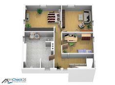 Das Einfamilienhaus verfügt in der oberen Etage über zwei Schlafräume, einem Arbeitszimmer und einem Badezimmer.