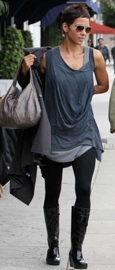 Who made  Halle Berry's gray sleeveless top and white sunglasses that she wore in Los Angeles on March 27, 2011?