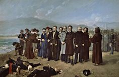 Antonio Gisbert - The Execution of Torrijos and his Companions on the Beach at Malaga One of my all time favorites. The original - at the Prado in Madrid (where Gisbert was curator) - is huge at 4 x 6 m! Malaga Beach, Malaga City, Guernica, Execution By Firing Squad, Museum, Spanish Artists, Spanish Painters, Art Archive, Manet