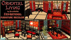 A very traditional red, gold & black recolor of my Zen-Sational furniture sets. Includes matching walls and floor.  Found in TSR Category 'Sims 2 Room Sets'