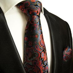 Shop Red, Blue and Black Paul Malone Paisley Tie Set ,Hand Made Necktie Set, Silk with matching Pocket Square and Cufflinks . Learn More and Buy it Today for only Latest Mens Fashion, Mens Fashion Suits, Mens Suits, Sharp Dressed Man, Well Dressed Men, Paisley Tie, Herren Outfit, Tie Set, Tie And Pocket Square