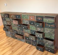 1880's ORIGINAL Paint 54 Drawers Wood APOTHECARY Cabinet Rare Primitive grungy