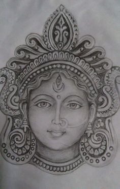 Abstract Pencil Drawings, Art Drawings Sketches Simple, Durga Painting, Charcoal Art, Indian Art Paintings, Goddess Art, Mural Art, Mandala Art, Durga Maa
