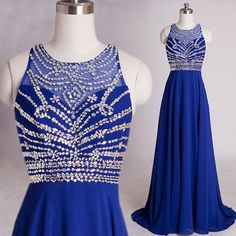 Stunning Long Royal Blue Beaded Prom Dresses Party Evening