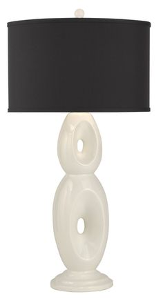 Ceramic Table Lamp with White Glaze Finish, Black Silk Blend, Shallow Drum Hardback Shade, Quartz Finial.#lighting #lamp #homedecor #home