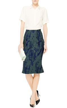 Floral-Jacquard Flared-Hem Skirt by Zac Posen - Moda Operandi