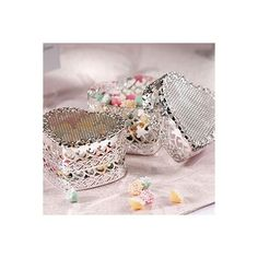 Silver Heart Favor Boxes 6ct