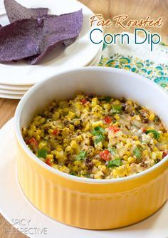 Fire Roasted Corn Dip | ASpicyPerspective.com #dip #party #florida #corn
