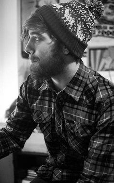 beard. hat. flannel.