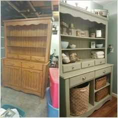 Refurbished hutch painted with chalk paint, doors removed and new handles..