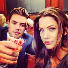 Goofing off on set Dallas on TNT Dallas Show, Dallas Tnt, Movies Showing, Movies And Tv Shows, Brenda Strong, Josh Henderson, Me Tv, New Series, On Set