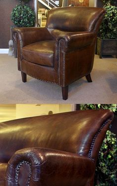Antique Look distressed vintage Leather Old English Armchair. Classic armchair with antique finish to give a naturally distressed look to the leather. French Furniture, Antique Furniture, Classic Leather, Vintage Leather, English House, Old English, Tub Chair, Accent Chairs, Living Room