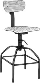 """McMaster-Carr - Manually Adjustable Stool with Wood Swivel Seat, with Glides & Backrest, 26"""" to 34"""" Seat Height"""