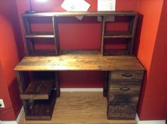 wxample of wooden desk with shelves and drawers
