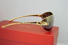 Auth Cartier Gold Rimmed Panthere Serie Limitee Stone Eye Sunglasses 110 T1 18 #cartier #Oval