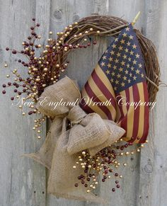 Americana Wreath, Patriotic Wreath, Fourth of July, Memorial Day, Veteran's Day, Rustic, Country, Tea Stained Flag