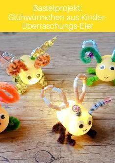 Glühwürmchen aus Kinder-Überraschungs-Eiern einfach und schnell mit Kindern basteln Glow in the dark: DIY fireflies made from empty children's surprise eggs brighten up your summer night! A great craft project that you can do together with your children! Diy Niños Manualidades, Craft Projects, Projects To Try, Diy Cadeau, Glow, Recycled Crafts, Bottle Crafts, Diy Crafts For Kids, Craft Kids