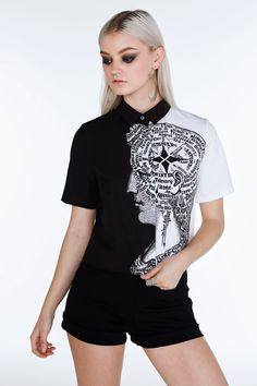 Phrenology Boss Shirt - Limited - Museum Release (NEW) - Collections Boss Shirts, Black Milk Clothing, My Black, Alter, Topshop, Rompers, Stylish, How To Wear, Clothes