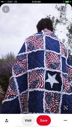 Flag Quilt, Patriotic Quilts, Boy Quilts, Quilt Blocks, Rag Quilt Patterns, Quilting Projects, Sewing Projects, Sewing Ideas, Quilting Ideas