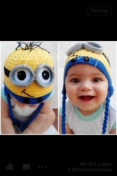 Minions(from Despicable Me) crochet kid's cap Minion Beanie, Minion Hats, Minion Costumes, Minion Crochet, Crochet Baby, Free Crochet, Exotic Baby Names, Cute Kids, Cute Babies