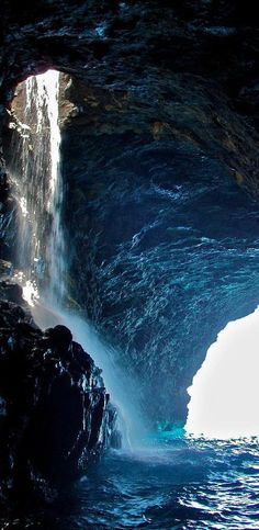 Na Pali Coast Waterfall Cave ~ Kauai, Hawaii