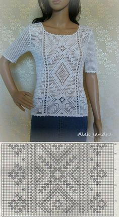 Items similar to Made to order summer women crochet blouse. Linked cotton crochet on Etsy Filet Crochet Charts, Crochet Diagram, Crochet Motif, Crochet Lace, Crochet Stitches, Bonnet Crochet, Cotton Crochet, Knitting Patterns, Crochet Patterns