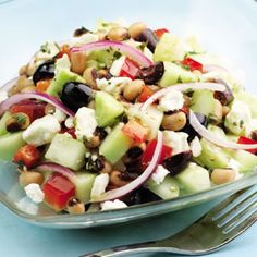 Cucumber & Black-Eyed Pea Salad! Yummy! This will be a good recipe to have when I harvest my cucumber.