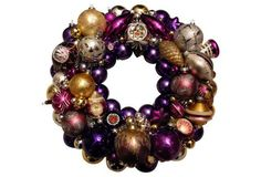 Purple & Gold Ornament Wreath Would be so adorable done for school colors for college students, simple, apt friendly
