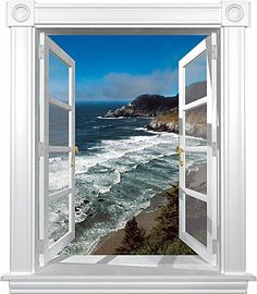 Feeling uninspired in your cubicle? Here's a few ways to brighten up your workspace. Window Mural, Window Frames, Cubicle Wallpaper, Beach Wall Murals, Cubicle Walls, Girls Dollhouse, Vitrine Miniature, Door Images, School Murals