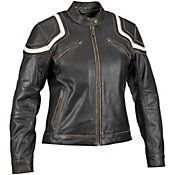 $245--Women's Vintage Babe Jacket  Vintage finish gives that broken-in look and feel like afavorite pair of jeans 2 front chest intake vents and 2 vertical rear exhaust vents Removable, insulated, fully-sleeved warm liner with built in pockets for most mobile devices Zippered sides offer an adjustable fit and added freedom of movement 2 front, waist-level, on-seam zippered pockets Snap closure tab collar for a secure fit Includes 2-year manufacture's warranty