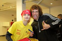 David Luiz. Chelsea FC players and manager meet cancer survivors in Bucharest.
