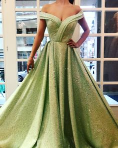 Details - Green lime dress color - Sparkling dress fabric - Handmade belt details - Off-shoulder gown with waist definition - For parties and special occasions Most Beautiful Dresses, Elegant Dresses, Pretty Dresses, Formal Dresses, Off Shoulder Gown, Off The Shoulder, Cheap Prom Dresses, Wedding Dresses, Green Dress