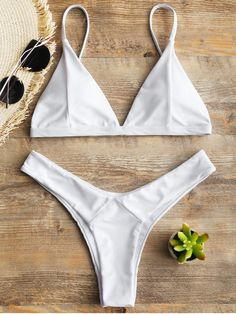 In a solid color hue, with a simple yet sexy way, this paired two piece bikini swimwear feature an adjusted cami strap with soft padded cups, a slide-hook closure in the back. Matching a high cut swim thong for a flattering style. Trendy Bikinis, White Bikinis, Summer Bikinis, Cute Swimsuits, Women Swimsuits, Bikini Tan Lines, Black Bikini, Bikini Swimwear, Thong Bikini