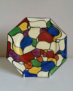 """Clarice Cliff Bizarre """"Patchwork Leaves"""" Octagonal Plate   eBay"""