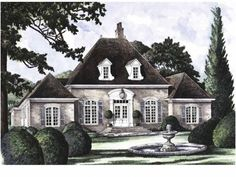 Eplans House Plan: French influence is highly evident on this fine three-bedroom home. From the  hipped rooflines to the delicate detailing on the dormers and around the door,  this house is full of class. Inside, the foyer i