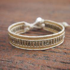 Silver mix Cuff bracelet with Chain on cream cord, Beaded bracelet, layer bracelet Bohemian Bracelets, Handmade Bracelets, Handmade Jewelry, Macrame Bracelet Patterns, Bracelet Designs, Boho Lifestyle, Beaded Jewelry, Beaded Bracelets, Jewellery