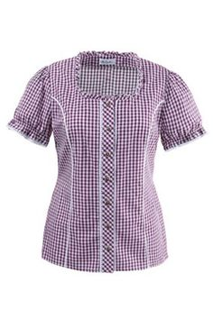 Traditional gingham blouse with typical look ruffle around the round neck, button panel with lace and traditional buttons. Short sleeves with lace trim and piped princess seams. Chicken Scratch Embroidery, Vintage 1950s Dresses, Princess Seam, Kurti, Gingham, Lace Trim, Short Sleeves, Men Casual, Plus Size