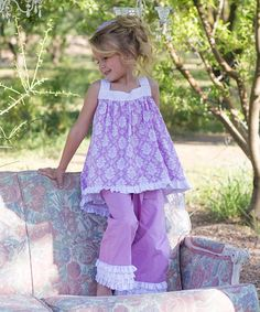 Look at this #zulilyfind! Lilac Damask Hi-Low Top - Infant, Toddler & Girls by Sweet Charlotte #zulilyfinds