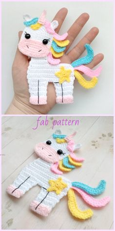 Unicorn Applique Crochet Patterns Free & Paid - Crochet - Diy and crafts interests Crochet Simple, Crochet Diy, Crochet Amigurumi, Crochet Motif, Crochet Crafts, Crochet Ideas, Crochet Owls, Crochet Animals, Diy Crafts