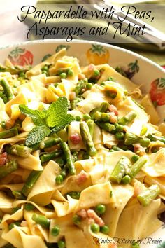 Pappardelle with Peas, Asparagus and Mint ~ The fresh flavors of spring burst forth in this easy to make dish!