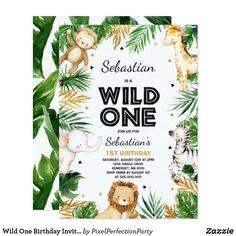 Party Animals, Animal Party, Safari Animals, First Birthday Invitation Cards, Wild One Birthday Invitations, Safari Party, Safari Theme, 1st Boy Birthday, 2nd Birthday Parties