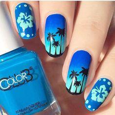 Blue Hawaiian nails by @themermaidpolish using our Hibiscus Nail Stencils found…