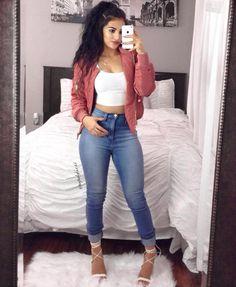 "Street Chic Bomber jacket: @fashionnova , Top: @fashionnova , Pants: @fashionnova Heels: @fashionnova , Errr'thing #FashionNova Use Code: ""XOXOMARIA"" for 15% off! Fashion By Maria Palafox"