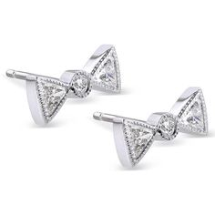 Diamond Bow Tie Earring 1/2 Carat (ctw) in 14k White Gold ($1,020) ❤ liked on Polyvore featuring jewelry, earrings, accessories, 14 karat white gold earrings, white diamond earrings, white gold earrings, white stud earrings and diamond jewelry