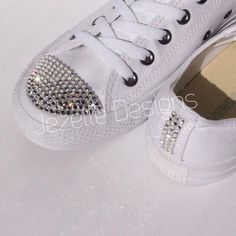Womens ALL White Bedazzled Converse  Glitter Converse Shoes With Genuine  Swarovski Crystals 9f9f6762bb0