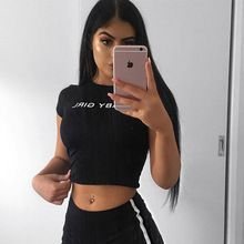 050e57be2 Crop Top Baby Girl Babygirl Letters Print Sexy Slim Fit Shirt Causal Short  Sleeve Women T Shirts Summer Tops Cropped Tees PTC 577