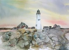 Maine Lighthouse Original Watercolor Painting by nanogallery, $250.00